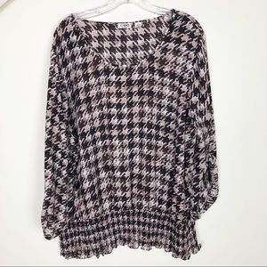 Cato Houndstooth Dolmen Sleeve Blouse - Size 22/24